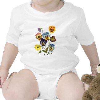 Embroidered Parade of Pansies shirt