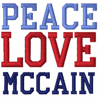 Embroidered Peace Love McCain Tee Shirt