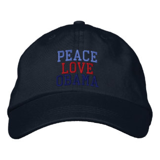 Embroidered Peace Love Obama Ball Cap
