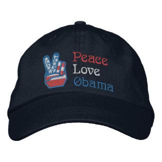 Embroidered Peace, Love, Obama Embroidered Baseball Cap