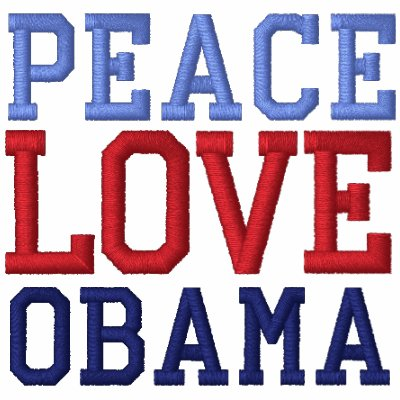 Embroidered Peace Love Obama Long Sleeve Tee Shirt