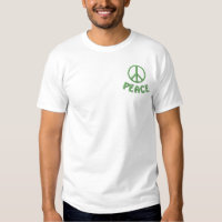 Embroidered Peace Sign and Word PEACE Embroidered T-Shirt