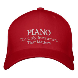 Embroidered Piano Hat With Slogan Baseball Cap