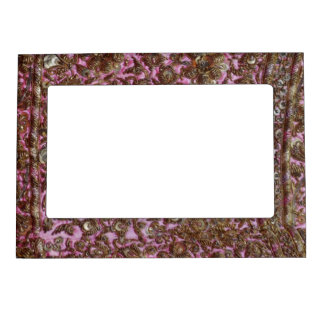 Embroidered Pink Fabric New Delhi India Magnetic Frame