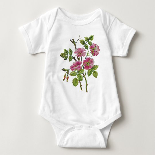 Embroidered Pink Old English Roses Baby Bodysuit