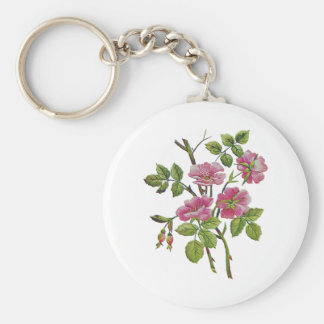 Embroidered Pink Old English Roses Basic Round Button Keychain