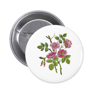 Embroidered Pink Old English Roses Button