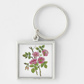 Embroidered Pink Old English Roses Silver-Colored Square Keychain
