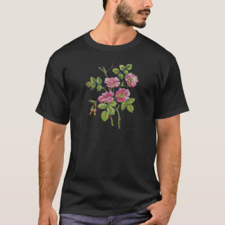 Embroidered Pink Old English Roses T-Shirt