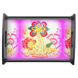 embroidered pink palm tree serving tray