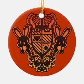 Embroidered_Rabbit Ceramic Ornament