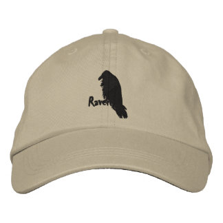 Embroidered Raven on Raven Hat Embroidered Baseball Caps