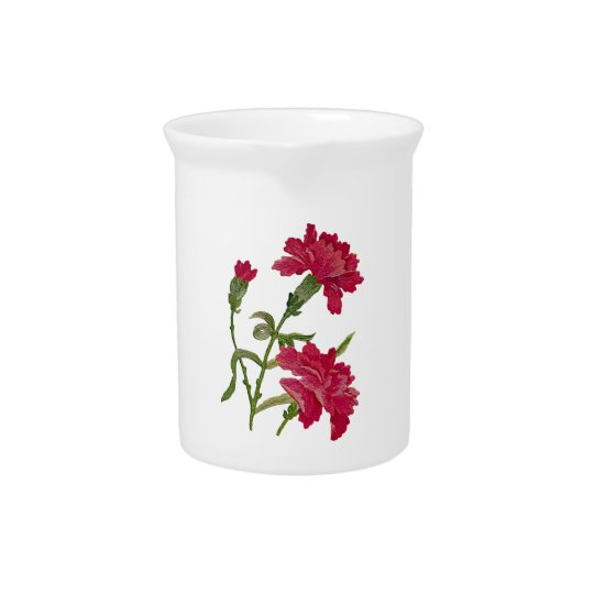 Embroidered Red Carnations Beverage Pitcher