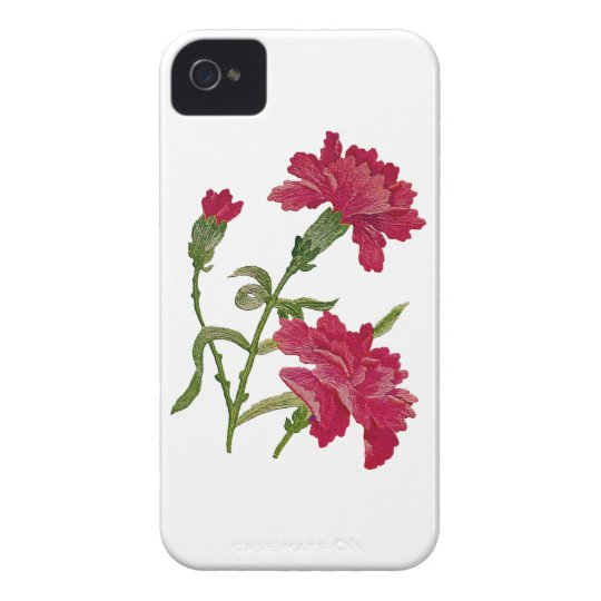 Embroidered Red Carnations iPhone 4 Cover