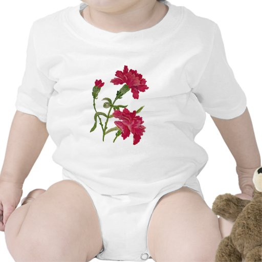 Embroidered Red Carnations Tees