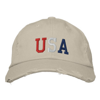 Embroidered Red White and Blue USA Sports Hat