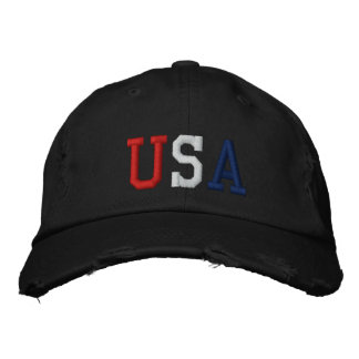 Embroidered Red White and Blue USA Sports Hat Embroidered Hats