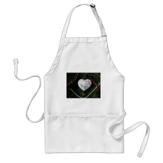 Embroidered Rose on Heart  Christmas Ornament Apron