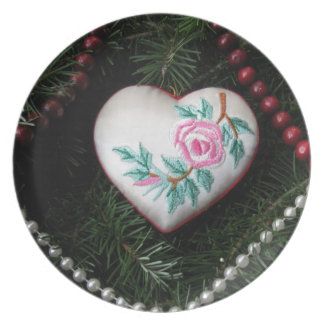 Embroidered Rose on Heart Christmas Ornament Plate