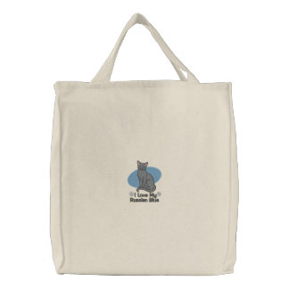 Embroidered Russian Blue Cat Tote Bag