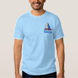 "Embroidered Sailboat T shirt<br><div class=""desc"">Cool sailboat in red, white and blue, embroidered on a t-shirt. Choose from lots of shirt styles and colors, even choose your thread color, and customize the text (currently reads Sailor). What&#39;s the name of your boat? You can change the text so it reflects that name, or anything you like!...</div>"