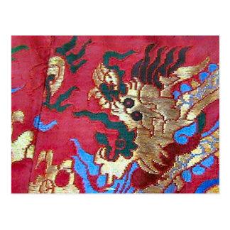 Embroidered silk fabric postcard