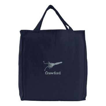 Embroidered Squid Beach Tote with Custom Text