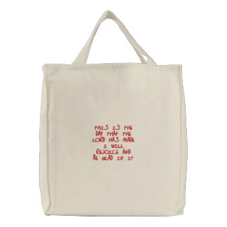 Embroidered Tote Bag: I will rejoice...