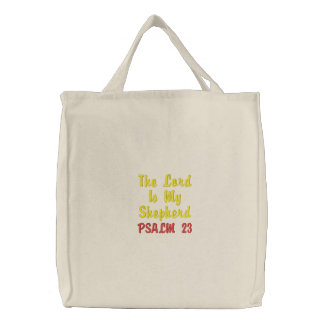 Embroidered tote bag Psalm 23 verse!