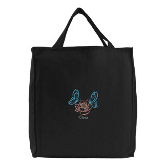 Embroidered Twin Butterflies Rose Name Carryall Embroidered Tote Bag