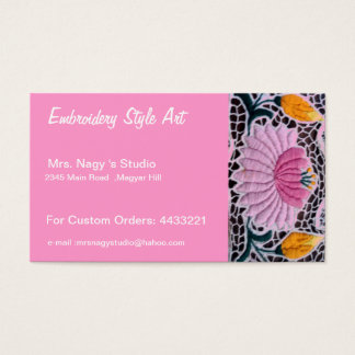 embroidered water lilly in kalocsai style business card