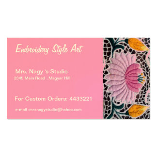 embroidered water lilly in kalocsai style business card templates