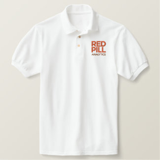 Embroidered White Polo with Red Text Logo (Men's)