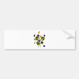 Embroidered White, Yellow and Purple Violets Bumper Sticker
