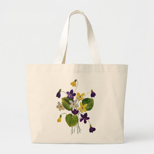 Embroidered White, Yellow and Purple Violets Large Tote Bag