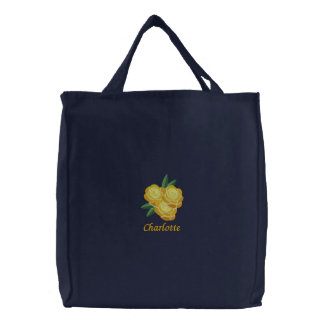 Embroidered Yellow Flower Tote with Custom Text