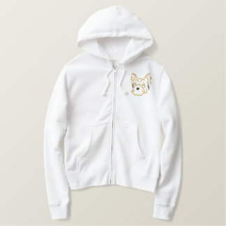 Embroidered Yorkie Head Embroidered Hoodie