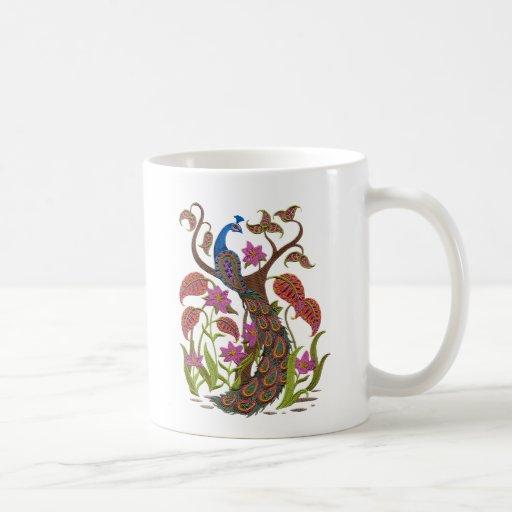 embroiderey peacock coffee mug