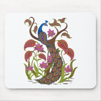 embroiderey peacock mouse pad