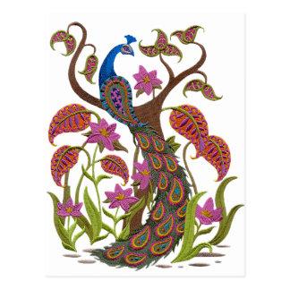 embroiderey peacock postcard