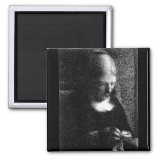 Embroidering  by Seurat 2 Inch Square Magnet