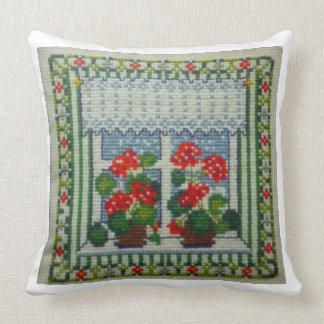 Embroidering Cross Point Window with Flores Throw Pillow