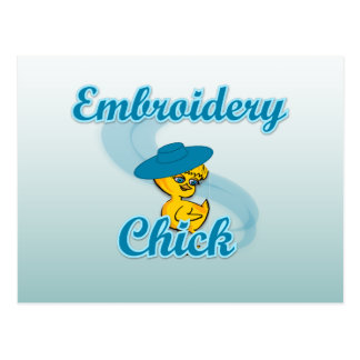 Embroidery Chick #3 Postcard