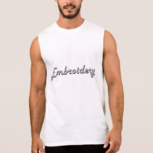 Embroidery Classic Retro Design Sleeveless T-shirt Tank Tops, Tanktops Shirts