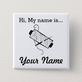 Embroidery Craft Party Name Tag Pinback Button