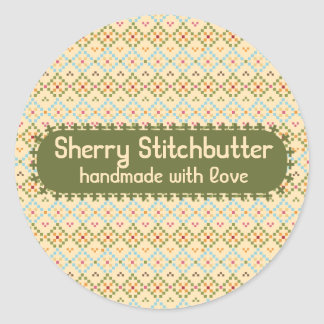 Embroidery cross stitch pixels sewing seamstress classic round sticker