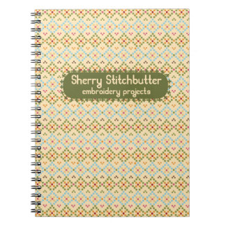 Embroidery cross stitch pixels sewing seamstress notebook