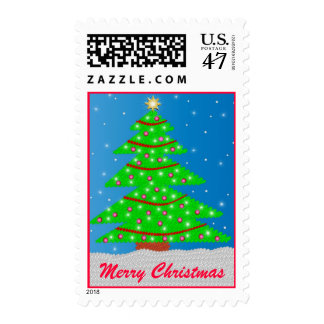 Embroidery Effect Christmas Tree Postage