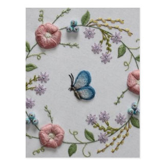 Embroidery Floral and Butterfly Postcard