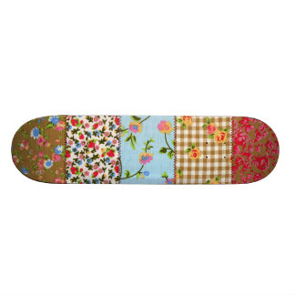 Embroidery Floral Patchwork Pattern Skateboard